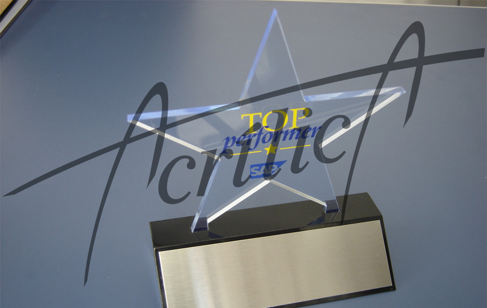 trofeu acrilico star com silk screen e placa de aco inox ss845